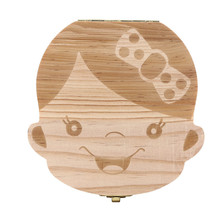 Wooden baby Tooth box Organizer Save Deciduous tanden doosje Milk Teeth Storage Rangement Collect Lanugo English