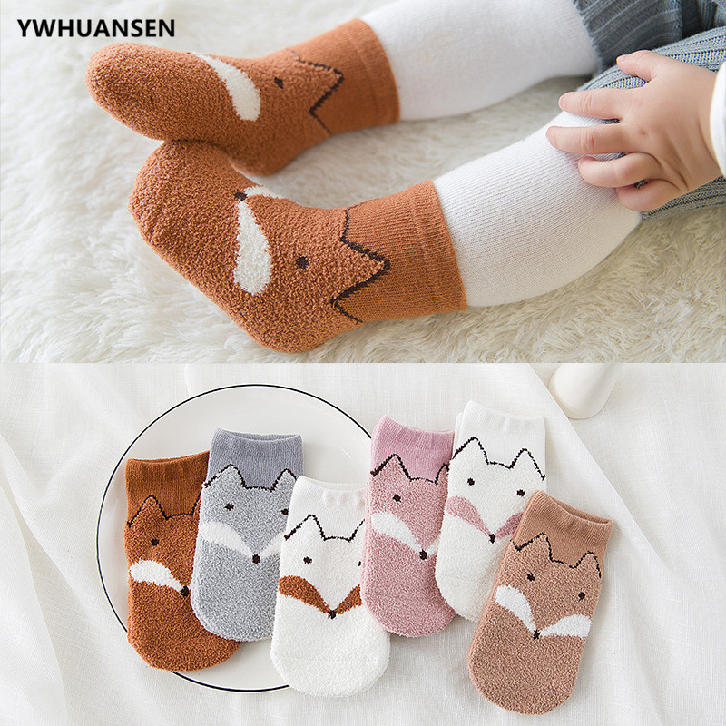 YWHUANSEN 3 Pairs/lot Autumn Winter Children's Socks Feather Yarn Socks For Girls Boys Super Soft Warm Infant Baby Short Socks