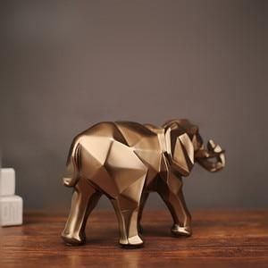 Image 4 - 幾何学的抽象黄金象の彫像樹脂動物クラフト家の装飾象の彫刻装飾創造的なギフト