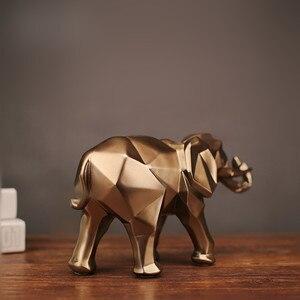Image 4 - Geométrico abstrato elefante dourado estátua resina animal artesanato retro casa decoração elefante escultura decorações presente criativo