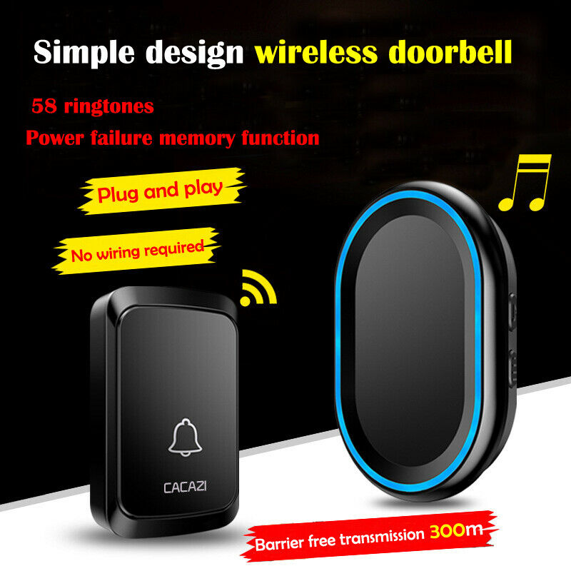 300M Remote Waterproof LED Wireless Doorbell 58 Songs Chime Door Bell 110V-220V EU US UK300M Remote Waterproof LED Wireless Doorbell 58 Songs Chime Door Bell 110V-220V EU US UK