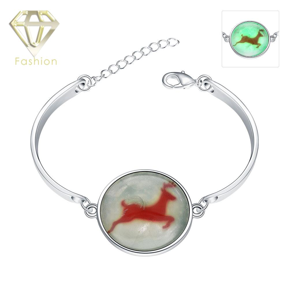Christmas Jewelry Fashion Luminous Series Silver Plated Glow in The Dark Marked Running Deer Bracelet for Women Party