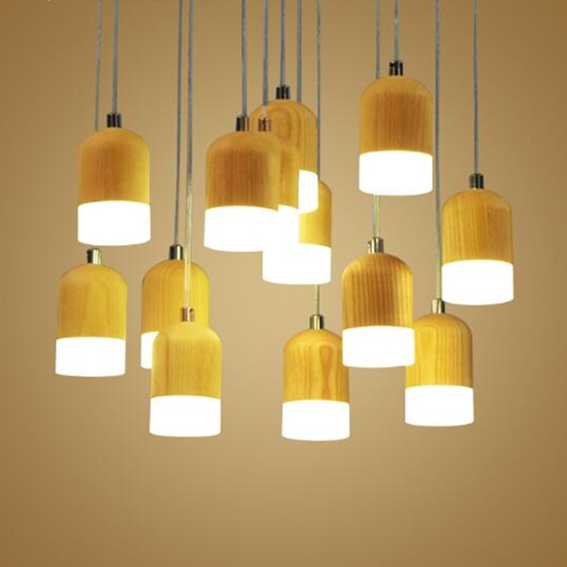 fashion lamp pendant lights crylic Wood  LED indoor lamp ceiling restaurant bar coffee dining room LED hanging light fixture