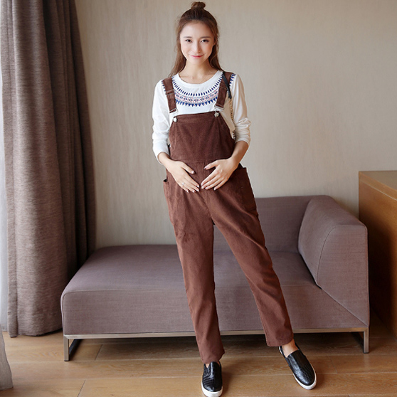Hot Maternity Blossoming corduroy pregnant women with pants Korean version of the belly pants spring and autumn with pieces pregnant women dress new fashion korean version fall