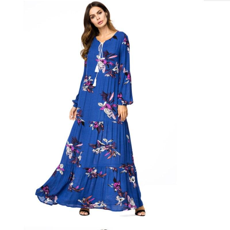 Women Royal Blue Muslim Dress Flower Print O Neck Long Plus Size 4XL Floral Dress Islamic Saudi Arabia Abaya Turkish Dubai Dress