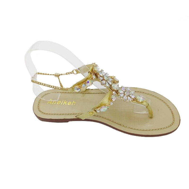 1c55b5bb2048a ... Aneikeh 2017 Woman Sandals Women Shoes Rhinestones Chains Diamond  Beaded Pinch Flat Bohemia Sandals Female Large