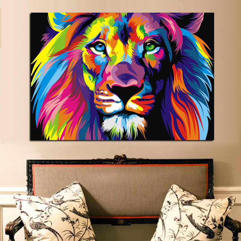 Print Colorful Lion Animals Abstract Canvas Painting on Canvas Modern Wall Art Picture for Kid Room Poster Cudros Decor No Frame