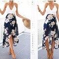 Impresión de la manera de la gasa de las mujeres del verano maxi dress boho style white lace beach dress de señora atractiva