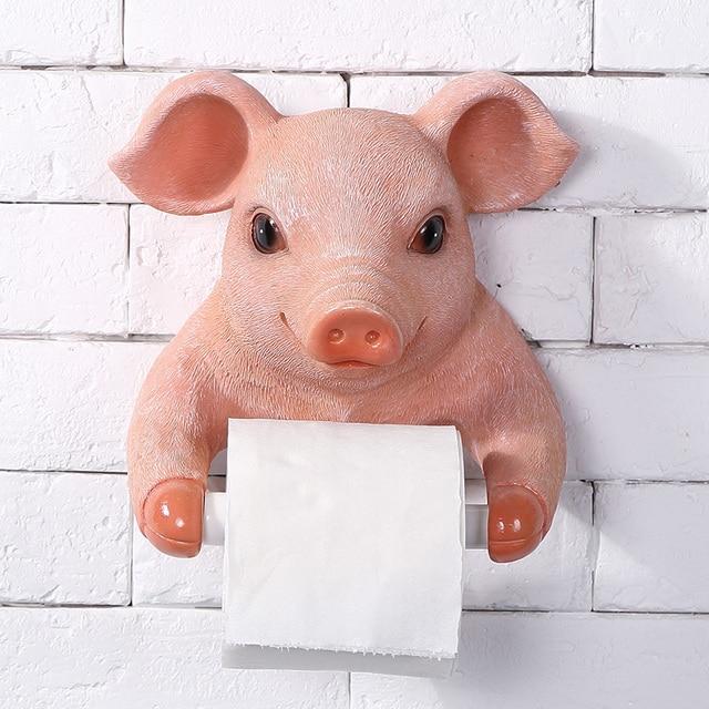 Pig Kitchen Ninja System Creative Toilet Towel Rack Resin Cute European Bathroom Roll Paper Holder Wall Mounted