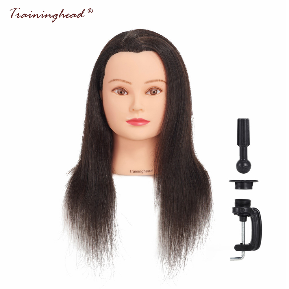 Traininghead 20-22 100% Human Hair Mannequin Head Training Doll Head Cosmetology Mannequin Head For Wigs Manikin Head Stand
