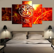 Game of thrones Movie Modern Painting Canvas Wall Art 5 Piece HD Print For Living Room Artwork