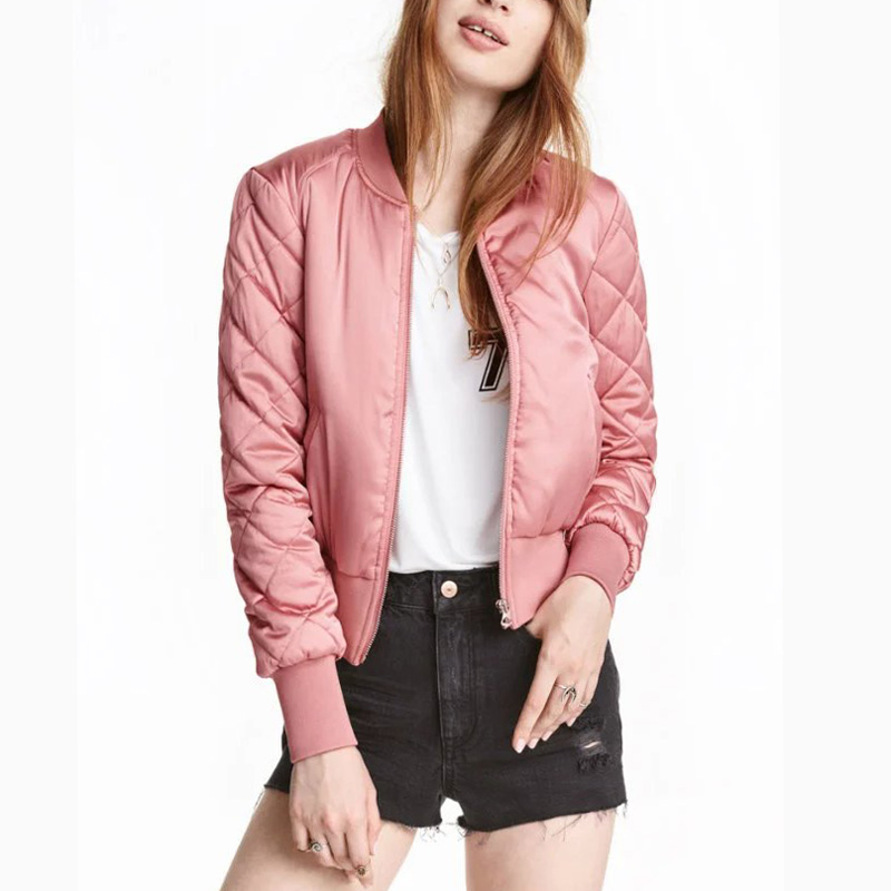 Womens Bomber Jackes Quilted Jacket Ladies Short Thin Padded Baseball Flight Jackets Coats Candy Colors Outwear Tops Casacos