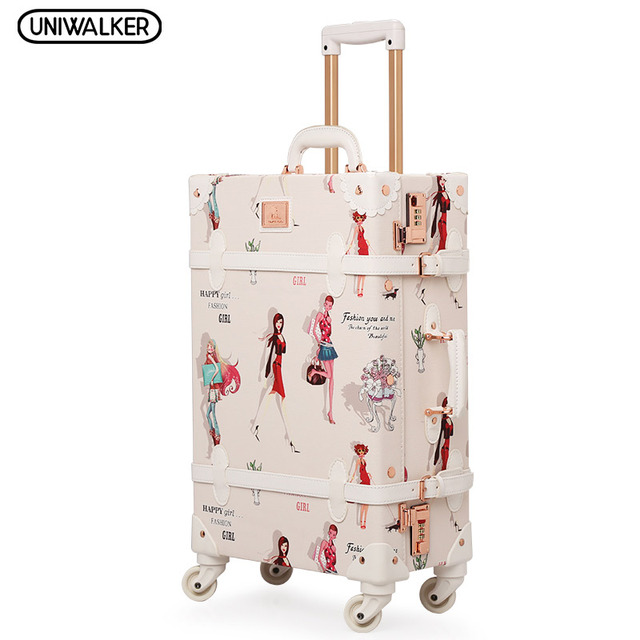 "20"" - 26"" Fashion Girl Retro Bagages Pu Leather Suitcase Women Trunk Vintage Luggages With Spinner Wheels for Girls"