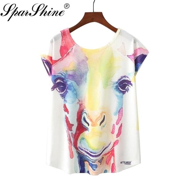d131520e 2018 Summer Novelty Women T Shirt Cute Style Nice Giraffe Printed T-shirt  New Short Sleeve Tops Size M L XL