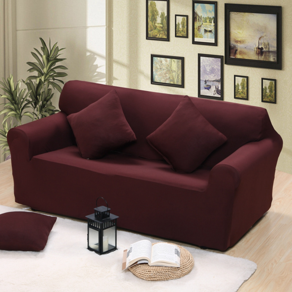 Aliexpress.com : Buy Universal sofa cover stretch brown solid color elastic reclining sofa ...