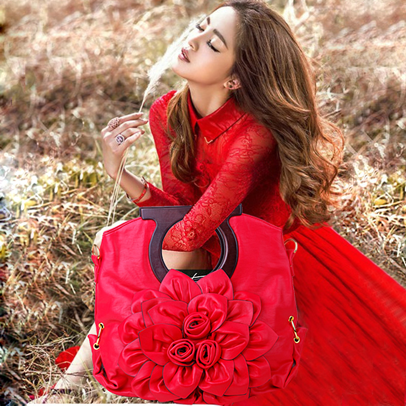 Fashion Noble Women Handbag Soft PU Leather Big Red Flower Modern Banquet Top-handle Bag Large Capacity Shoulder Bag Sent Friend цена