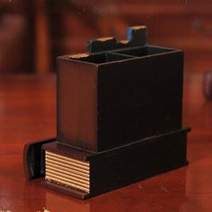 Image 5 - Multifunction Retro Wooden Pen Holder Book Shape Wood Craft Home Decor Pencil Desktop Storage Box Drawers Stationery Holder Gi