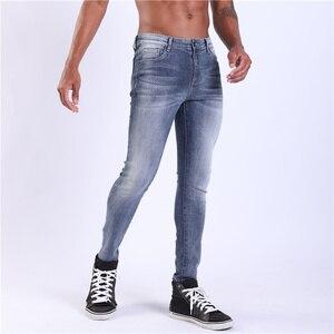 Image 2 - Pantalones vaqueros superajustados de una sola carretera para hombre 2019 nuevos vaqueros de color azul oscuro pantalones vaqueros elásticos de alta calidad de Hombre de marca