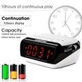 Portátil multifuncional de doble reloj de alarma bluetooth/wirelss altavoz radio fm tiempo de pantalla ranura para tarjeta del tf