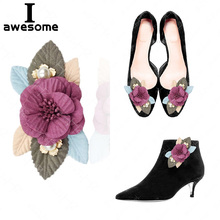 New DIY Red Pearl Flower Bridal Wedding Party Shoes Accessories For High Heels Shoes Boots Flats Pumps Shoe Decorations Flowers 2017 new high heeled shoes woman pumps wedding shoes platform fashion women shoes red high heels 11cm suede