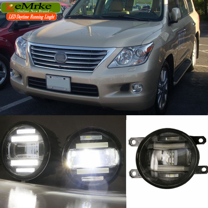 eeMrke For Lexus LX 570 (J200) 2008 - 2015 Xenon White High Power 2 in 1 LED DRL Projector Fog Lamp With Lens eemrke xenon white high power 2 in 1 led drl projector fog lamp with lens daytime running lights for renault kangoo 2 2008 2015