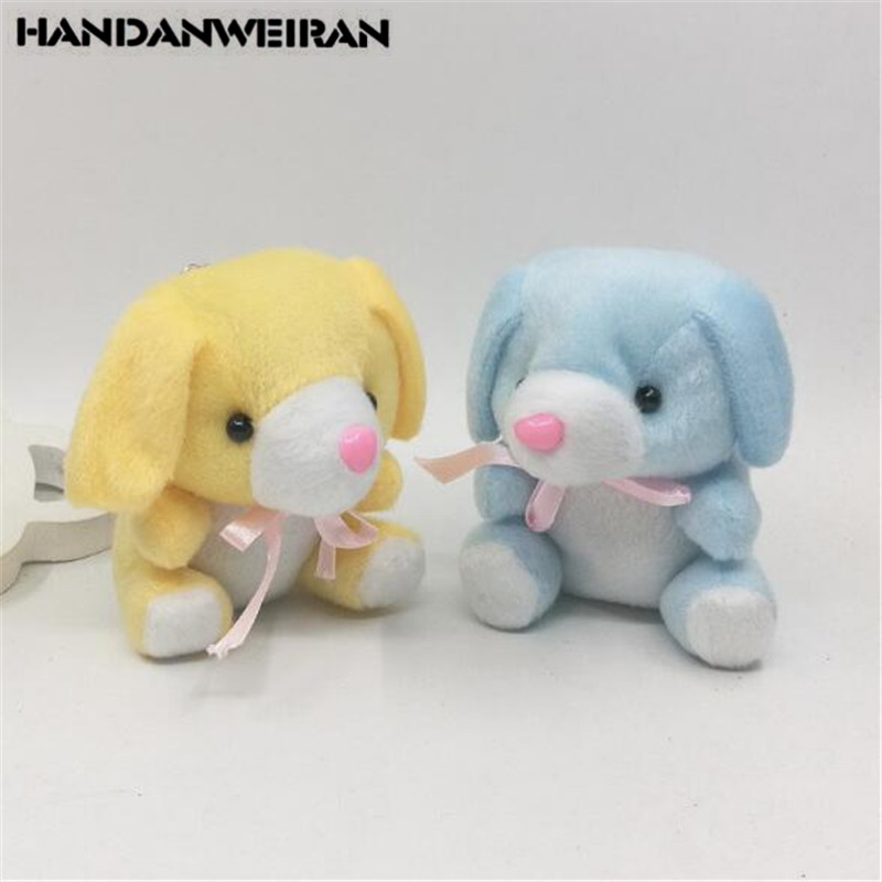 2PCS Cute Plush Baby Dog Toys Small Pendant Mini Soft Stuffed Bow Tie Dogs Toy Kids Playmate Birthday Activities Kids Gifts 9CM