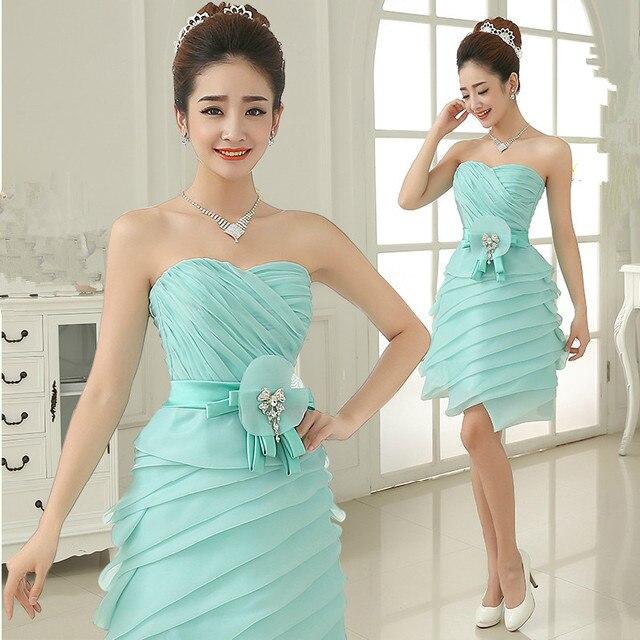 Short Mint Wedding Dress Tube Top Of the Shoulder Organza ...