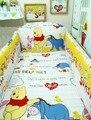 Promoção! 6 PCS Winnie berço conjuntos de cama cama de bebê em torno de definir desfazer e lavar roupa de cama ( bumpers + folha + fronha )