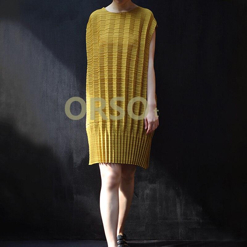 Changpleat 2019 di Estate Nuove Donne Vestito Allentato Miyak Pieghettato di Disegno di Modo del manicotto del Bicchierino del O Collo Solido di Grandi Dimensioni Abito Marea Femminile