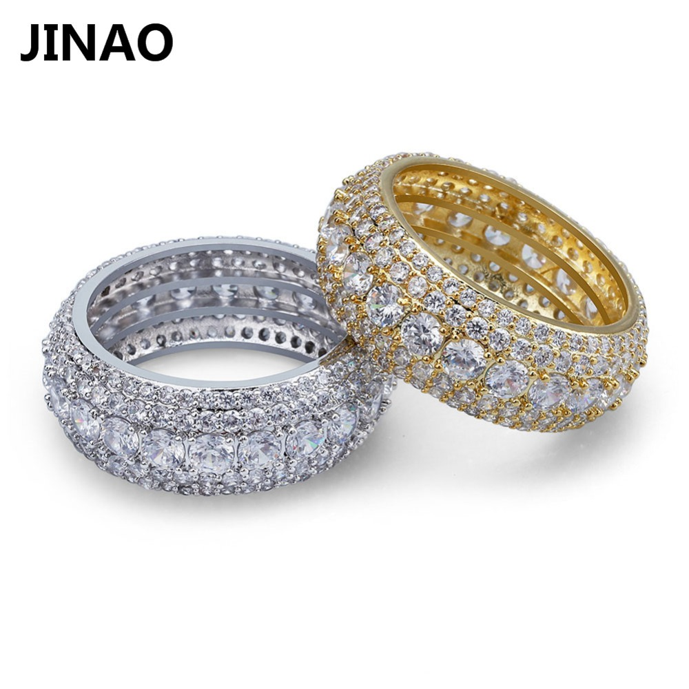 HIP Hop 5 Rows Luxury Cubic Zircons Men Women Rings Fashion Gold Silver Colors Classic Punk Males Finger Rings Size 7-11