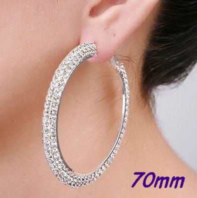 2b090e0381a69 US $3.22 25% OFF Gold Silver 70mm Crystal Cubic Zirconia Hoops Earrings 2  Rows Hoop Earrings-in Hoop Earrings from Jewelry & Accessories on ...
