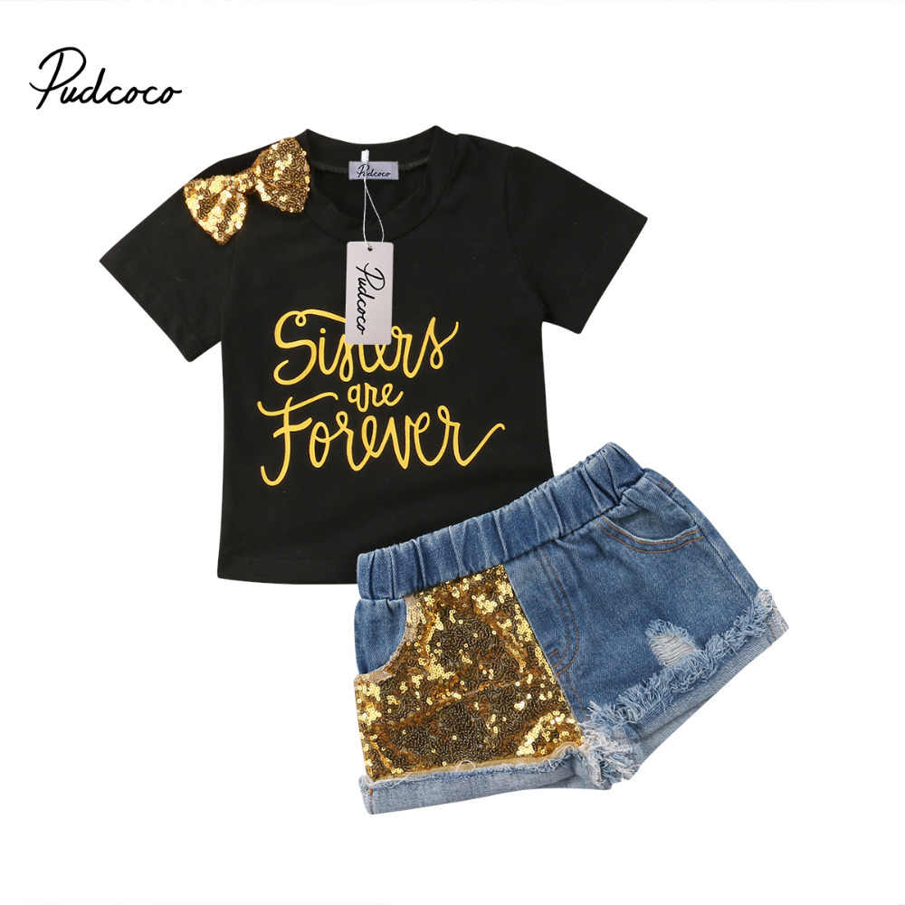 11f47f567ef2c Pudcoco 2018 Kids Baby Girl Clothes Sets Bowknot T-Shirts Top + Sequins  Denim Shorts