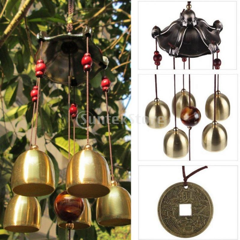 Bronze Copper Ethnic Craft Lucky Bells Wind Chime Feng Shui Home Garden  Decoration Best Wishes Birthday Gifts