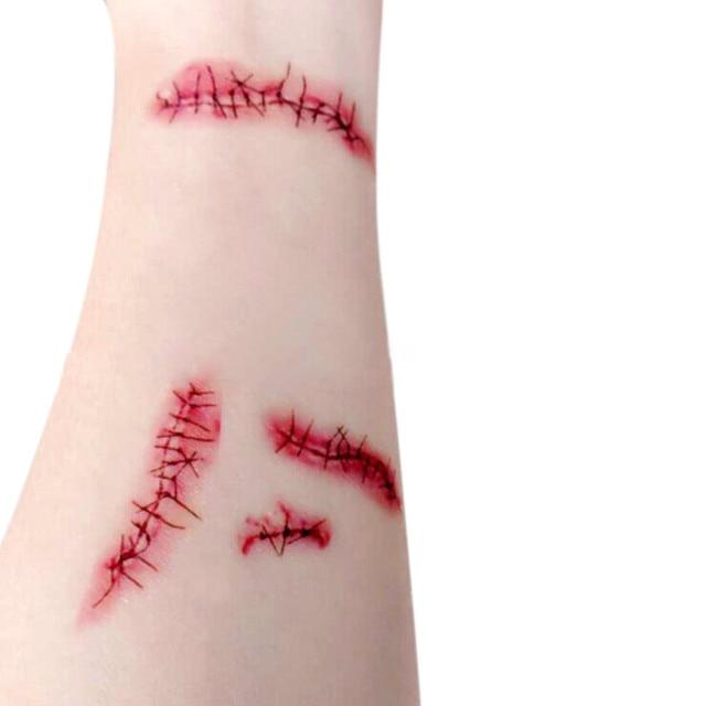 Halloween Horror Bloody Scar Tattoo Kids Children Temporary
