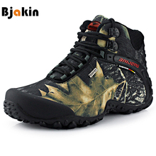 Bjakin Waterproof Men Hiking Shoes High Top Canvas Fishing Shoes Mountain Climbing Boots High Quality Hunting Sneakers Khaki(China)