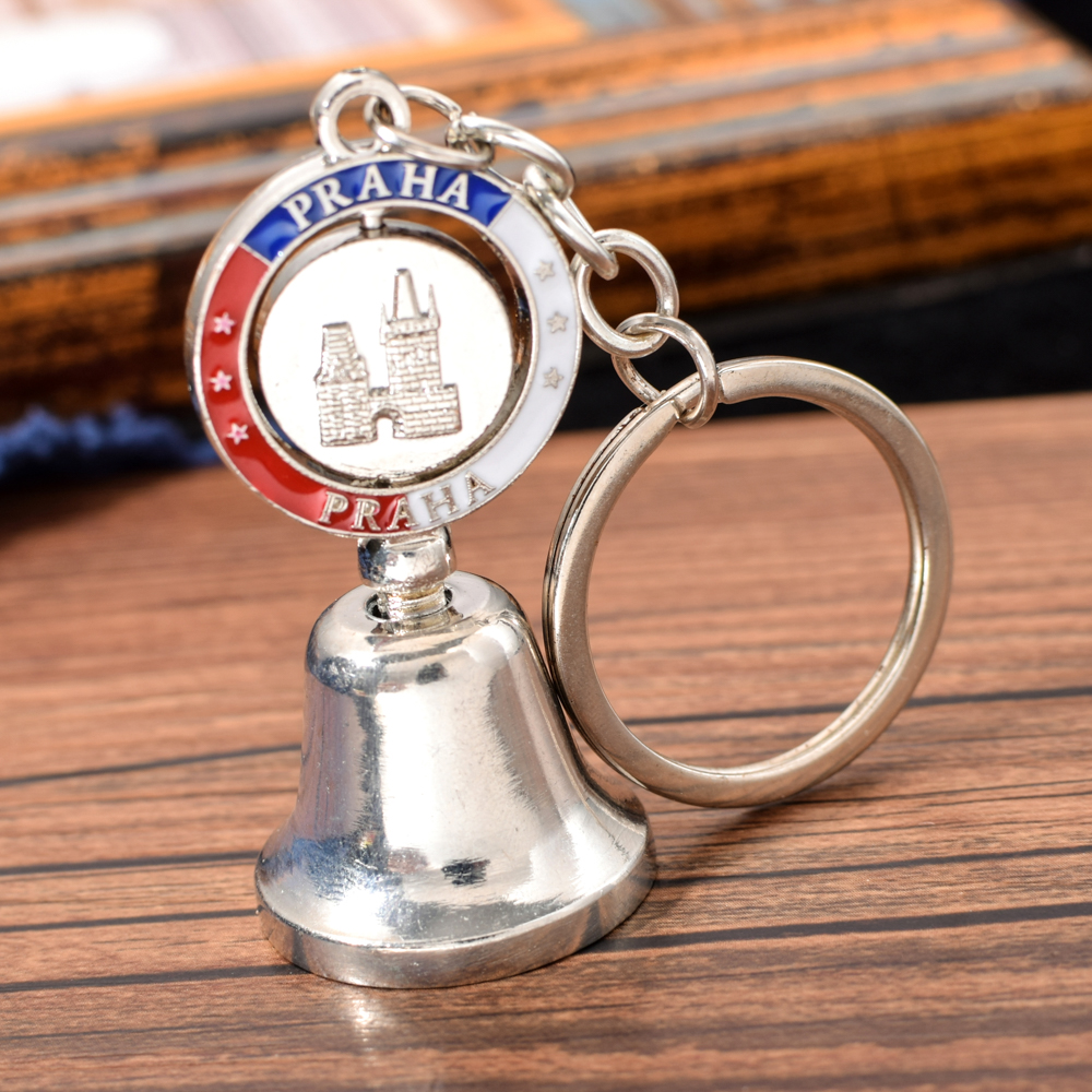 Vicney PRAHA Metal Bell Keychain Bullet Shell Casing Motorcycle Good Luck Bell Key Chain