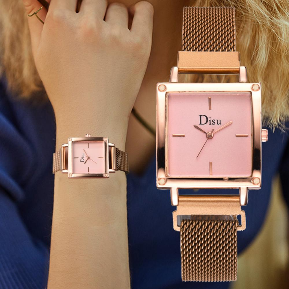 New Ladies Dress Quartz Watches Rose Pink Minimalist Women Square Magnetic Watch Waterproof Clock Relogio Feminino Montre Femme