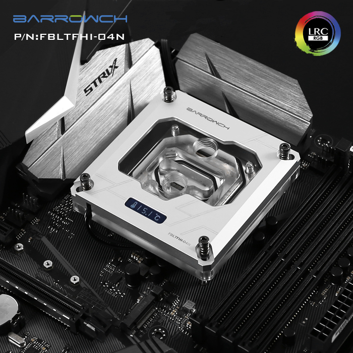 Купить с кэшбэком Barrowch FBLTFHI-04N,For Intel Lga115X/2011 X99/X299 CPU Water Blocks, Digital Display Temperature Microwaterway With Controller
