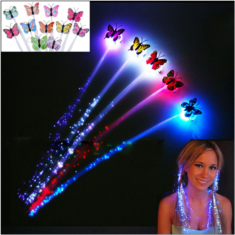 2pcs lot Colorful LED Wigs Glowing Flash Butterfly Glow Hair Braid Flash Extensions Lights Party Decoration