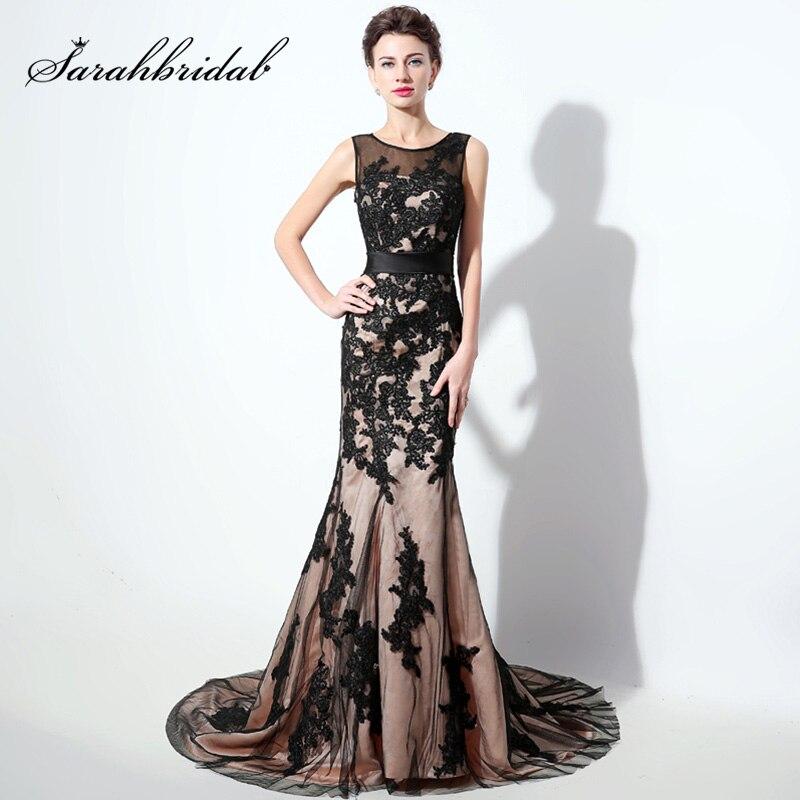 Plus Size Black Lace Appliques Long Mermaid Evening Dresses 2018 ...