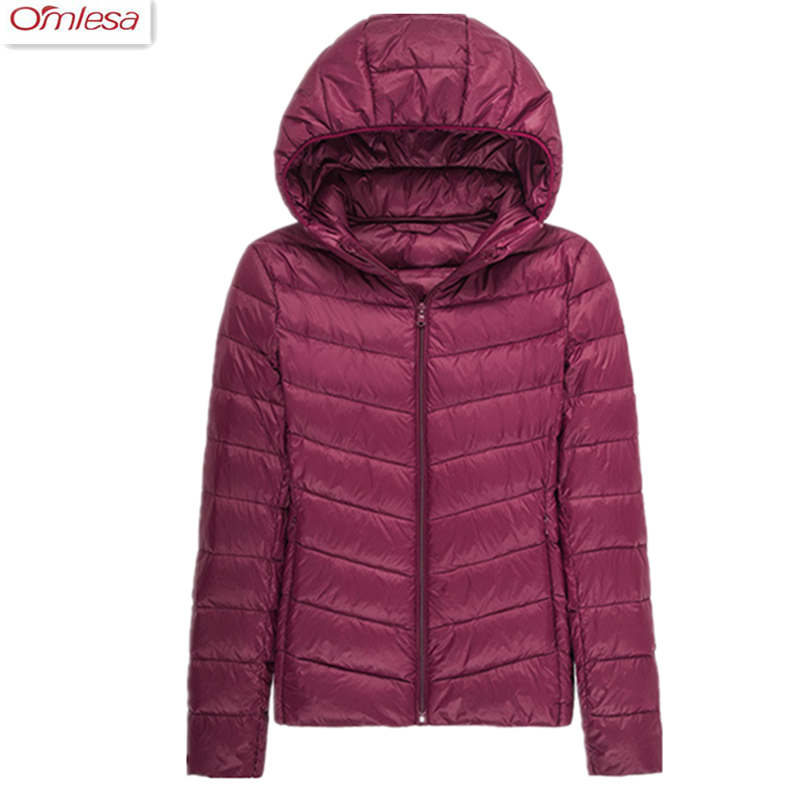 OMLESA 2017 New Autumn Winter Ultra-thin Hooded Down Coat Ladies Fashion Slim Jacket Women Warm Coat ZA466