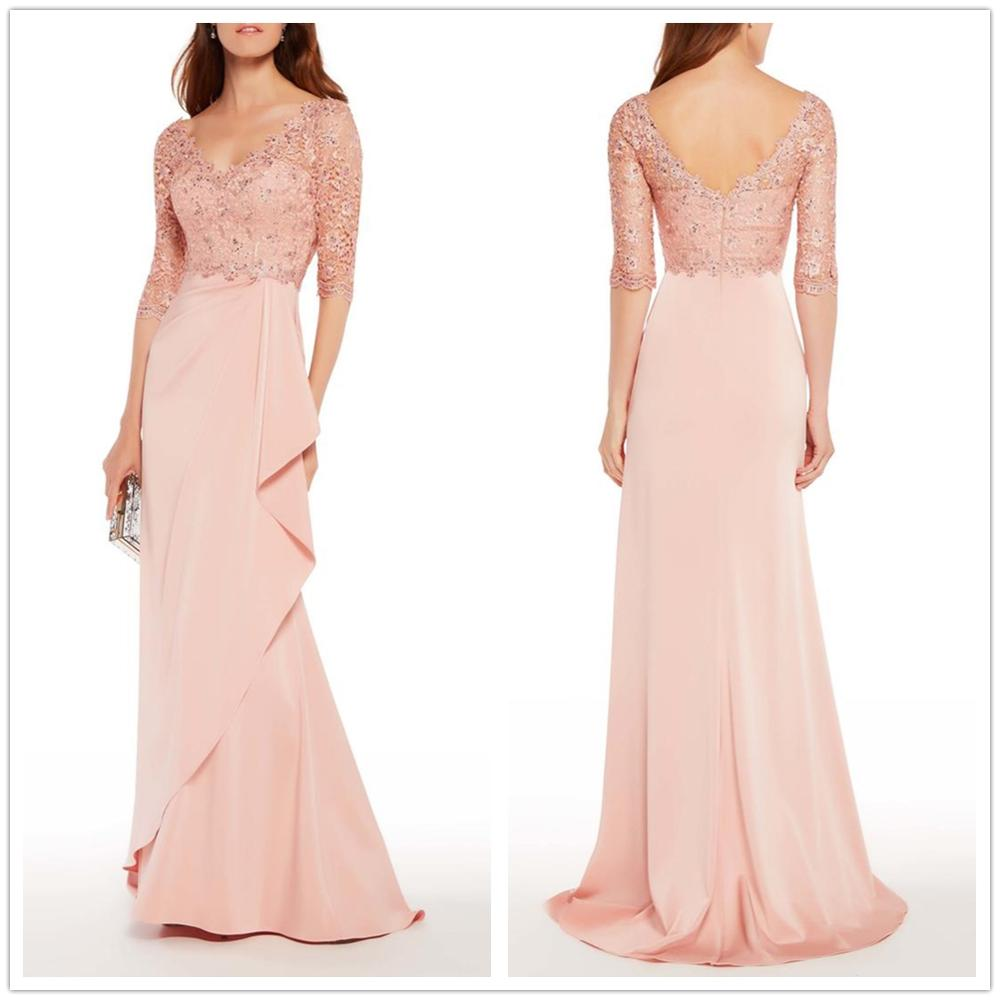 Vestidos De Novia 2019 Half Sleeves Deep V-neck Lace And Chiffon Sheath Sweep Train Mother Of The Bride Dresses Plus Size