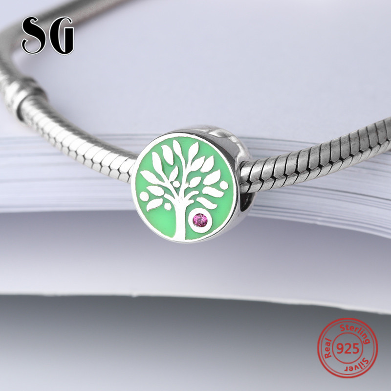 925 Sterling Silver family tree of life Beads with blue enamel fit Authentic pandora Charms Bracelets Jewelry for women Gifts