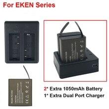 2 Unids Original EKEN Cargador de Batería + Cargador Doble Para EKEN H9 H3 H9R H3R H8PRO H8R H8 pro SJ4000 SJCAM SJ5000