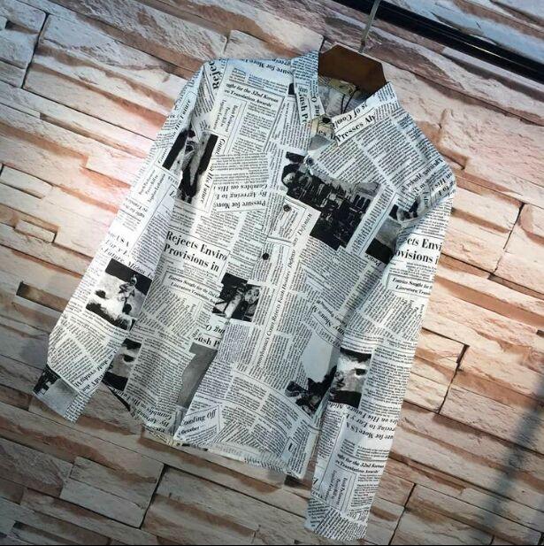 Metrosexual personality slim vintage newspaper printing art long sleeved shirt