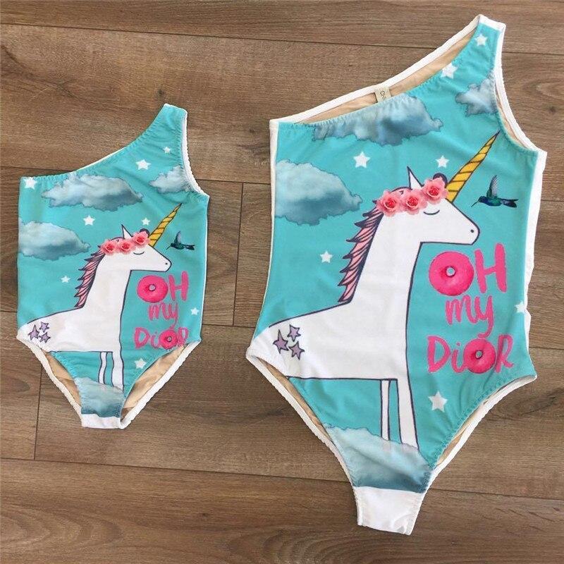 2018 Famiglia Del Bambino Del Capretto Del Bambino Della Ragazza Del Bikini Corrispondenza Unicorno Tuta Set Costume Da Bagno Costumi Da Bagno Costume Da Bagno Beachwear