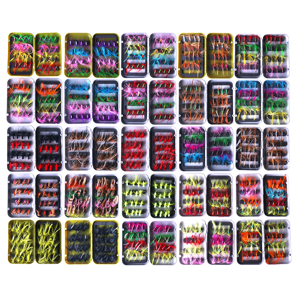 HENGJIA 32pcs Fishing Lures Kit Fly Fishing Hook Fly Fishing Flies Feather Bait Lures Nymph Dry And Wet Flies Fishing Tackle
