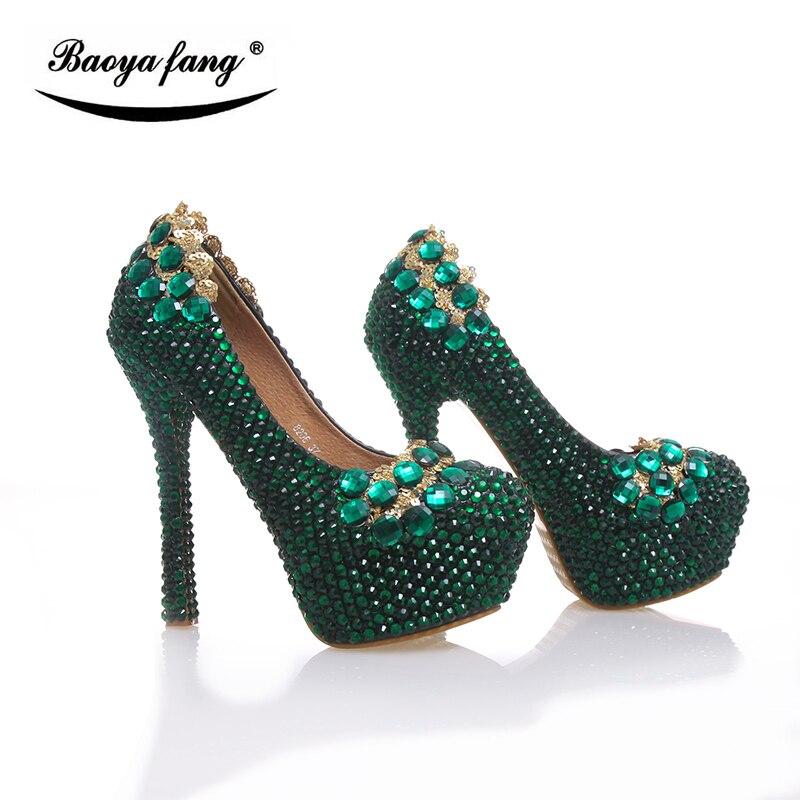 Nuovo arrivo 2017 Delle Donne scarpe Da Sposa Verde di cristallo degli alti talloni della piattaforma scarpe di cuoio Reale sottopiede scarpe da sera donna partito-in Pumps da donna da Scarpe su  Gruppo 3