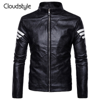 Cloudstyle 2017 Leather Jacket Men Zipper Fashion Long Sleeve Striped Overcoat High Quality Casual Style Slim