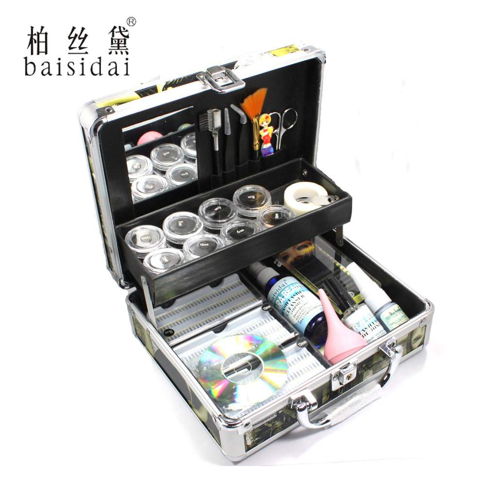Baisidai Professional False Eye Lash Eyelash Extension Full Kit Tools Glue Set With Case pro 1 set false eye lash extension individual fake eyelash glue brush full kit with case box salon makeup tools glue tool